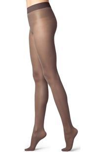 Meia Calça Modeladores Fio 30 Com Corpete Constritivo - Marrom P