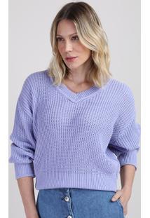 Suéter De Tricô Feminino Amplo Decote V Lilás