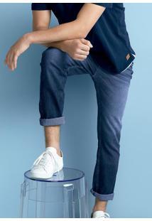 Calça Jeans Masculina Skinny Em Algodão Com Lavação E Destroyed