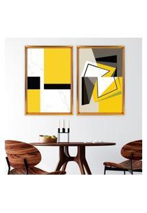 Quadro Com Moldura Chanfrada Abstrato Amarelo Dourado - Médio