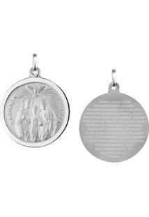 Pingente Sagrada Família Redonda Em Prata 925 - Unissex-Prata