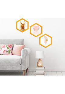 Kit 3 Quadros Com Moldura Hexagonal Premium