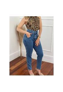 Calça Jeans Mom Detalhe Cós