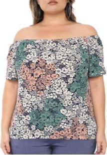 Blusa Plus Size Ombro A Ombro Floral Feminina - Feminino-Verde