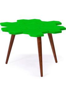 Mesa De Centro Colmeia Com Tampo Verde Claro Laqueado E Estrutura De Madeira Maciça