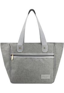 Bolsa Shopper Com Recortes- Cinza & Cinza Claro- 28,Jacki Design