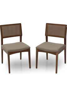 Cadeira De Jantar Tapuí Em Madeira Maciça Assento Estofado E Encosto Com Fibra Natural - Kit Com 2 Peças - T421