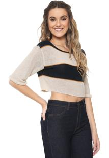 Blusa Cropped Redley Tricot Listras Bege