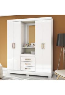 Guarda Roupa Casal Com Espelho 4 Portas 3 Gavetas Flex Color Briz Branco/Branco/Rosa