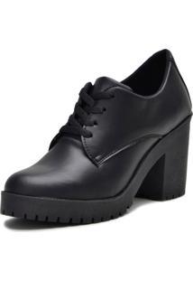 Sapato Oxford Iza Tonelli Preto Em Cadarço Com Solado Tratorado