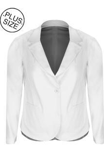 Blazer Linda D Bengaline Com Bolsos - Plus Size (H3149) Branco