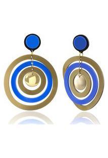 Brinco Una Donna Collection Multi Círculos Azul E Dourado