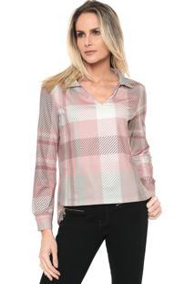 Camisa Lança Perfume Geométrica Rosa/Cinza