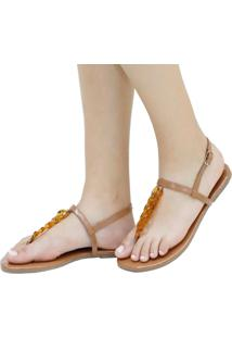 Sandália Rasteira Mercedita Shoes Verniz Nude Corrente Resina Tartaruga Ultra Conforto Anatômica