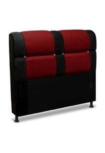 Cabeceira De Casal Queen 160Cm Para Cama Box Colombia Suede Animale Preto/Vermelho - Ds Móveis