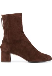 Aquazzura Ankle Boot Saint Honore Com Salto 50Mm - Marrom