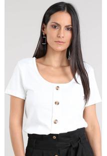 Blusa Feminina Canelada Com Botões Manga Curta Decote Redondo Off White
