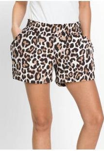 Shorts Animal Print Onça Marrom