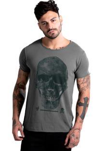 Camiseta Estonada Corte À Fio Joss Caveira Premium Chumbo