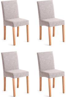 Conjunto Com 4 Cadeiras De Jantar Dora Ii Mescla E Castanho