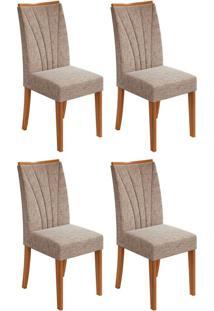 Conjunto Com 4 Cadeiras Apogeu Ll Rovere E Bege