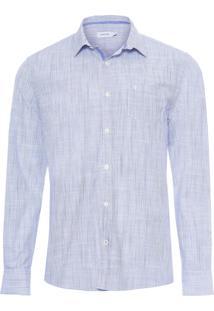 Camisa Masculina Resort Listras Flame - Azul