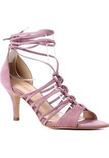 Sandália Couro Shoestock Multi Tiras Salto Alto Feminino - Feminino-Lilás