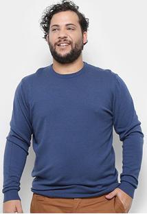 Blusa Tricô Delkor Plus Size Masculina - Masculino-Azul