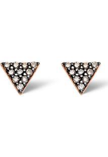 Brinco Ouro Rosé E Diamantes Brown