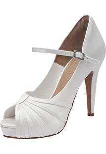 Sandalia Noiva Duani Calçados Meia Pata Branca Cetim