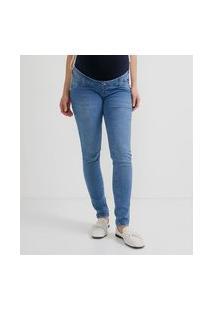 Calça Skinny Jeans Com Barrigueira Em Malha Maternity
