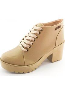 Bota Coturno Quality Shoes Feminina Nude 39