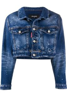 Dsquared2 Jaqueta Jeans Cropped Icon - Azul