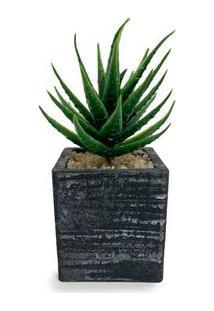Vaso Com Suculenta Artificial Aloe Vera - Único