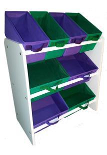 Organizador Organiboxinfantil Porta Brinquedos Médio Verde Bandeira E Violeta Montessoriano