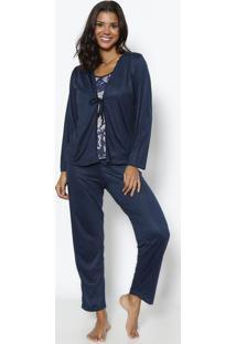 Pijama Xadrez & Rosas- Azul Marinho & Cinza- Zulaizulai