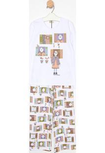 Pijama Manga Longa & Calã§A- Branco & Marromsonhart