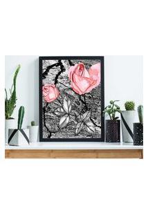 Quadro Decorativo Com Moldura Pintura Rosa Preto - 20X25Cm