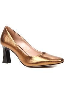 Scarpin Couro Shoestock Salto Flare Bico Quadrado - Feminino-Bronze