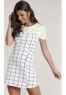 Vestido Feminino Curto Estampado Quadriculado Alças Finas Decote Reto Branco
