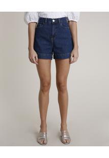 Short Jeans Feminino Mindset Cintura Super Alta Azul Escuro