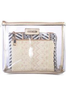 Kit Necessaire Transparente Com Mini Necessaires De Palha Pop Me - Feminino-Dourado