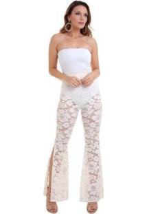 Calça Renda Off White Fendas - Feminino-Branco