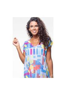 Blusa 101 Resort Wear Saida De Praia Estampada Crepe Mosaico Multicoloridas