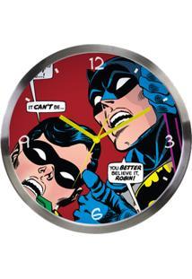 Relógio De Parede Metal Dc Batman E Robin Prata/Vermelho