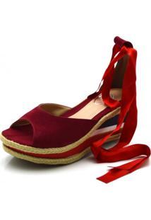 Sandália Anabela Dududias10 Salto Médio Com Tiras Paralelas Em Nobucado Vermelho Vermelho