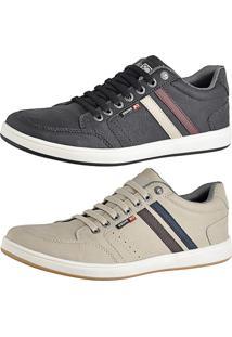 Kit Sapatênis Cr Shoes Com Elástico Leve Lançamento Bege E Preto