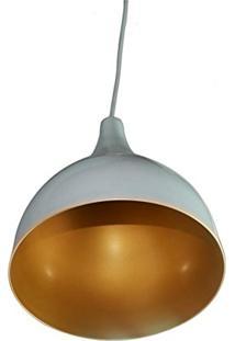 Luminaria Colorida Modelo Funi Grande 32Cm X 23Cm Branco Com Dourado