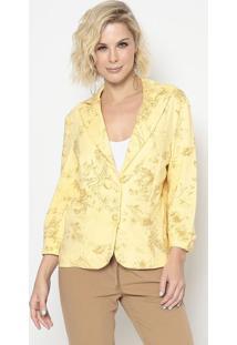 Blazer Floral Com Recortes- Amarelo & Amarelo Escurocotton Colors Extra