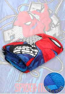 Cobertor Solteiro Lepper Spider Man Dupla Face Azul 1,55 X 2,20
